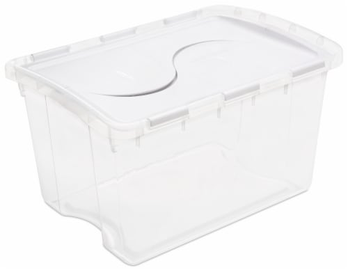 Sterilite Storage Box with Hinged Lid - Clear - 48 Quart Perspective: front