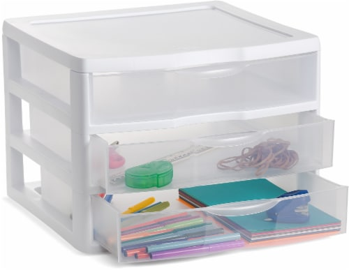 Sterilite ClearView 3-Drawer Wide Organizer - Clear/White Perspective: front