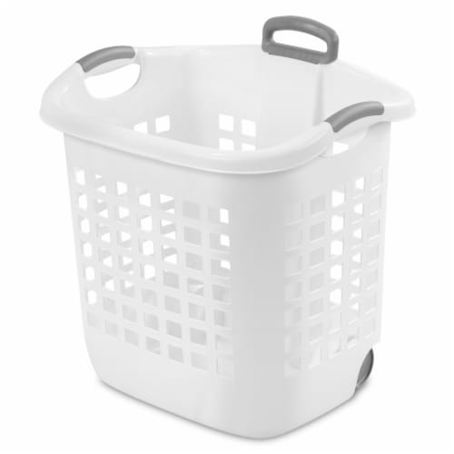 Sterilite Wheeled Laundry Basket - White Perspective: front