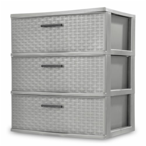 Sterilite 3 Drawer Wide Weave Storage Tower - Cement Perspective: front