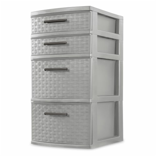 Sterilite 4 Drawer Weave Tower - Cement Perspective: front