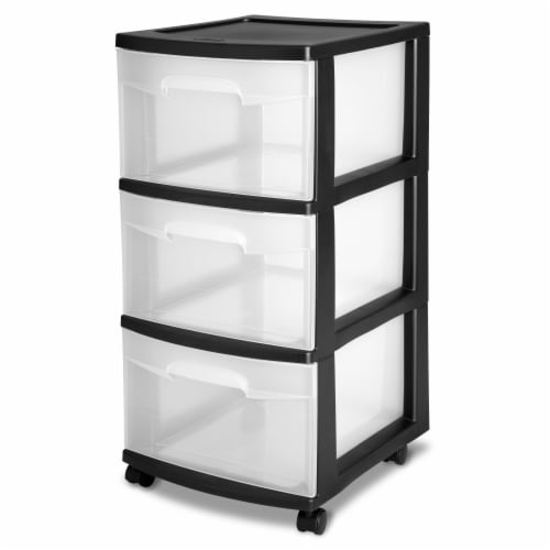 Sterilite Basic 3-Drawer Cart with Casters - Black/Clear Perspective: front