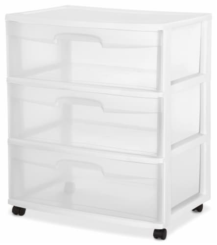 Sterilite 3-Drawer Wide Cart with Casters - Clear/White Perspective: front