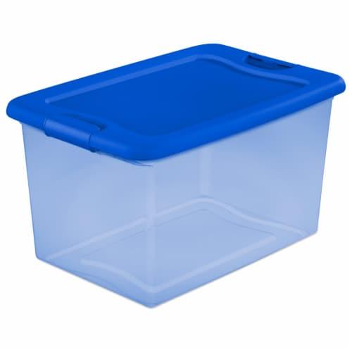 Sterilite Latch Storage Box - Pale Blue Tint/Blue Perspective: front