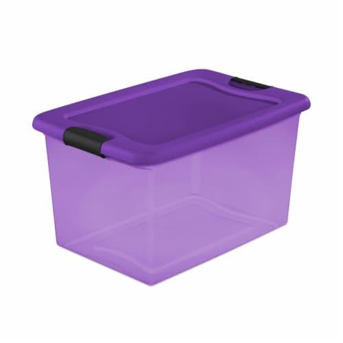Sterilite Latch Box Tote - Purple Perspective: front