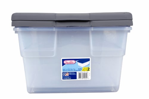 Sterilite 16 Quart Storage Boxes - Hazelwood/Clear Perspective: front