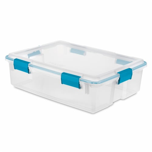 Sterilite Storage Box with Latching Lid -  Blue Aquarium/Clear Perspective: front