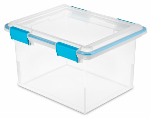 Sterilite Storage Box with Lid - Clear/Blue Perspective: front