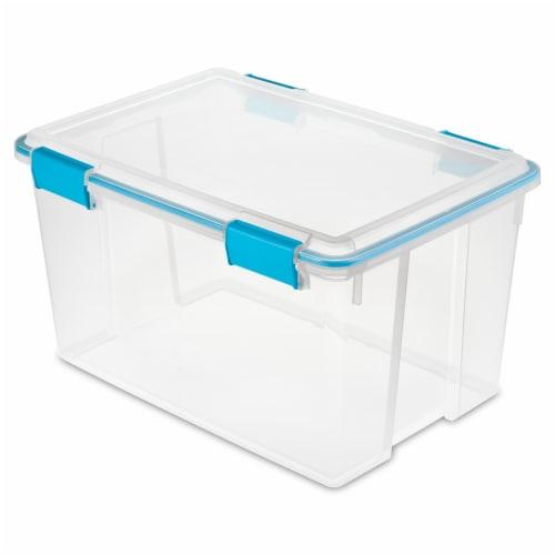 Sterilite Gasket Box - Blue Aquarium/Clear Perspective: front
