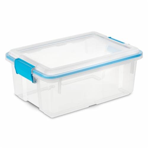 Sterilite Gasket Storage Box - Blue Aquarium Perspective: front