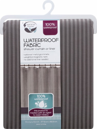 Zenna Home Striped Waterproof Fabric Shower Curtain Liner – Brown Perspective: front