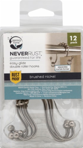 Zenna Home Easy-Glide Double Roller Shower Curtain Hooks - Brushed Nickel Perspective: front