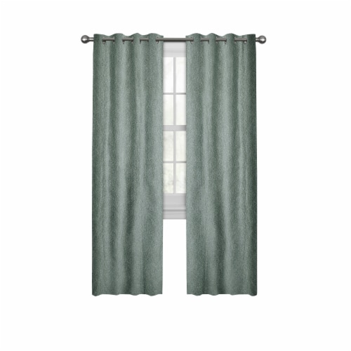 Maytex Mills Petal Mosaic with Gromm Curtains - Blue Perspective: front