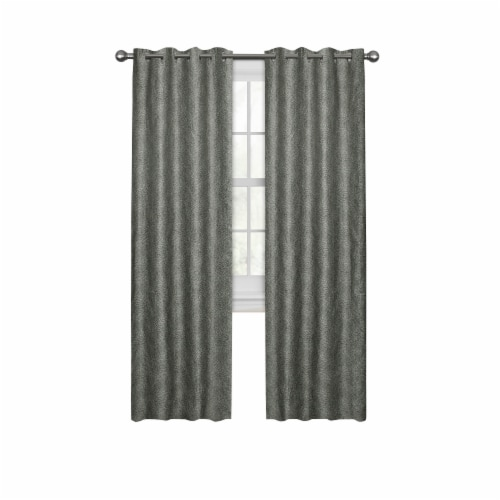 Maytex Mills Petal Mosaic with Gromm Curtains - Gray Perspective: front