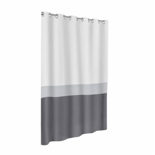 Maytex Mills InstaCurtain Colorblock Stripe Shower Curtain - Gray Perspective: front