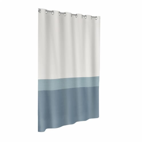Maytex Mills InstaCurtain Colorblock Stripe Shower Curtain - Blue Perspective: front