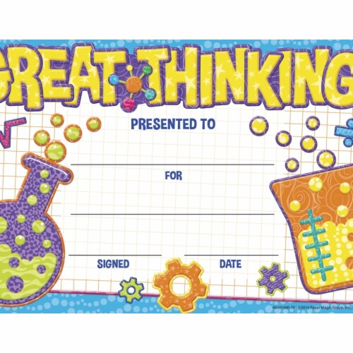 Eureka 1593732 Color My World Great Thinking Recognition Award, 8.50 x 5.50 in. Perspective: front