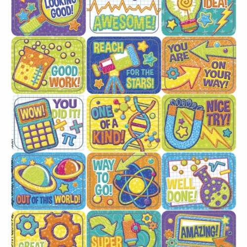 Eureka 1593734 Color My World STEM Success Stickers, 1.375 x 1 in. - Pack of 120 Perspective: front