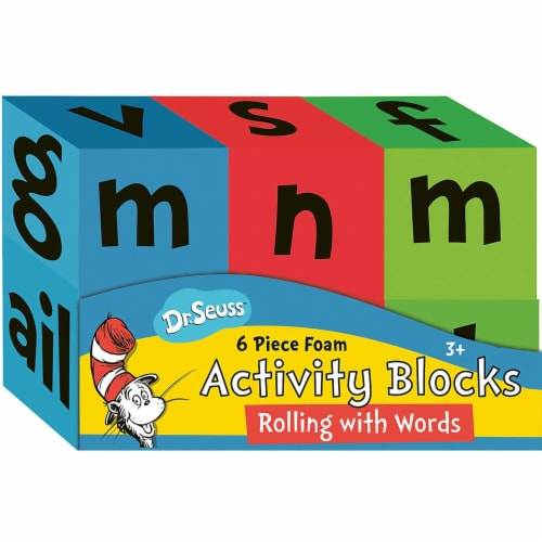 Eureka EU-867525 Dr Seuss Foam Actvty Blocks Rolling with Words Manipulatives Perspective: front
