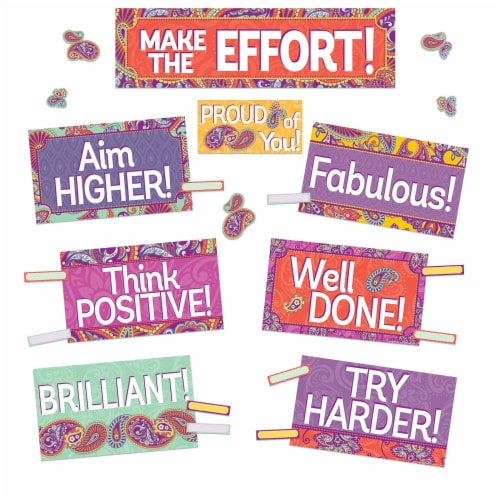 Positively Paisley Class Management Mini Bulletin Board Set Perspective: front