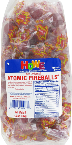 Howe Atomic Fireballs Candy Perspective: front