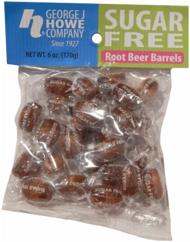George J Howe Company Sugar Free Root Beer Barrels Candy Perspective: front