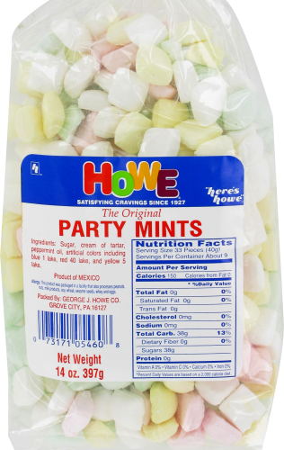 Howe Party Mints Perspective: front