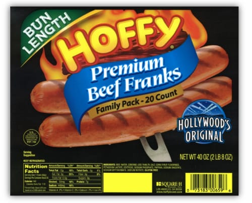 Hoffy Premium Bun Length Beef Franks Family Pack Perspective: front