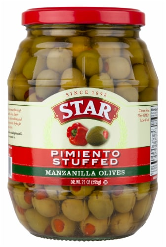 Star Piminto Stuffed Manzanilla Spanish Olives Perspective: front