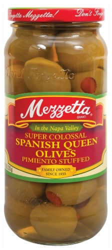 Mezzetta Super Colossal Pimiento Stuffed Spanish Queen Olives Perspective: front