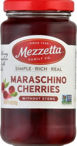 Mezzetta Maraschino Cherries without Stems Perspective: front
