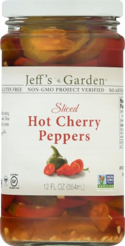 Jeff's Naturals Sliced Hot Cherry Peppers Perspective: front