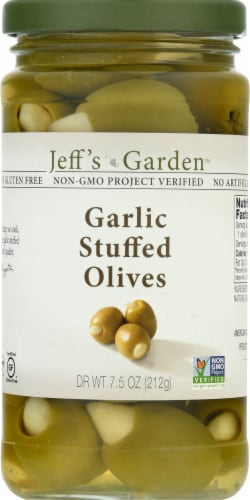 Jeff's Naturals Garlic Stuffed Olives Perspective: front