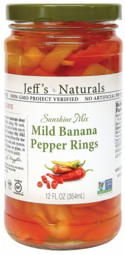 Jeff's Naturals Sunshine Mix Mild Banana Pepper Rings Perspective: front