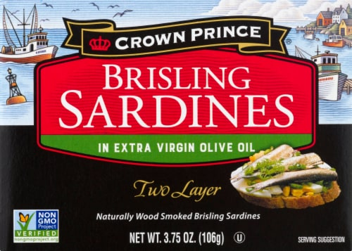Crown Prince Two Layer Brisling Sardines in Olive Oil Perspective: front