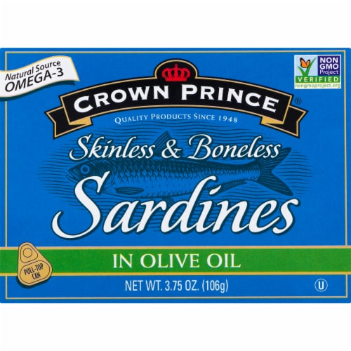 Crown Prince Skinless & Boneless Sardines in Olive Oil Perspective: front