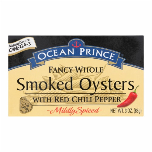 Ocean Prince Smoked Oysters With Red Chili Pepper Perspective: front