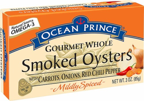 Crown Prince Ocean Prince Mildly Spiced Gourmet Whole Smoked Oysters Perspective: front