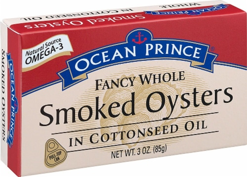 Crown Prince  Ocean Prince® Fancy Whole Smoked Oysters In Cottonseed Oil Perspective: front