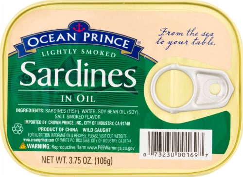 Ocean Prince Lightly Smoked Sardines in Oil Perspective: front
