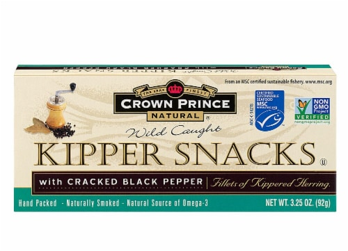 Crown Prince  Natural Kipper Snacks with Cracked Black Pepper Perspective: front