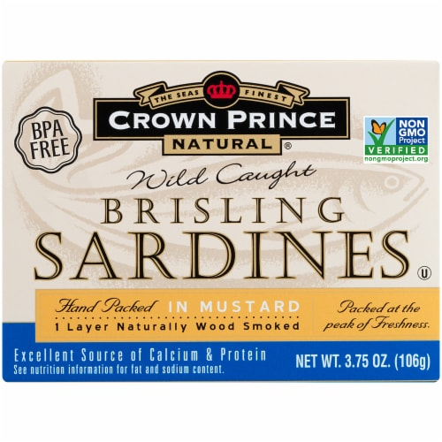Crown Prince Natural Brisling Sardines in Mustard Perspective: front