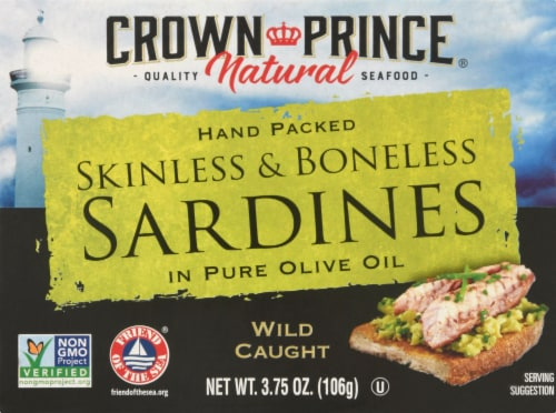 Crown Prince Skinless Boneless Sardines In Olive Oil Perspective: front