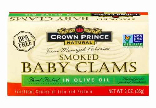 Crown Prince Smoked Baby Claims in Olive Oil Perspective: front