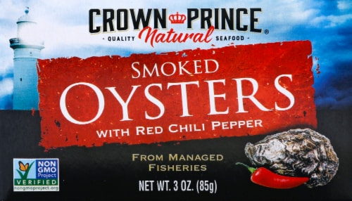 Crown Prince Naturally Smoked Oysters With Red Chili Peppers Perspective: front