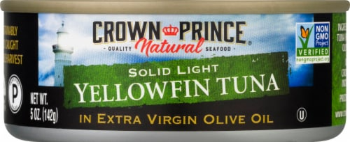 Crown Prince Natural Solid Light Yellowfin Tuna in Extra Virgin Olive Oil Perspective: front