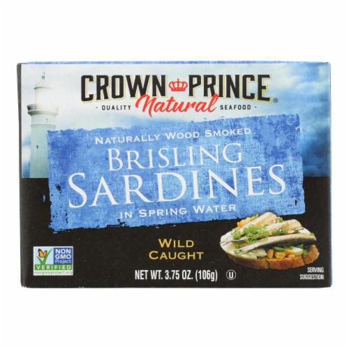 Crown Prince Brisling Sardines In Spring Water - Case of 12 - 3.75 oz. Perspective: front