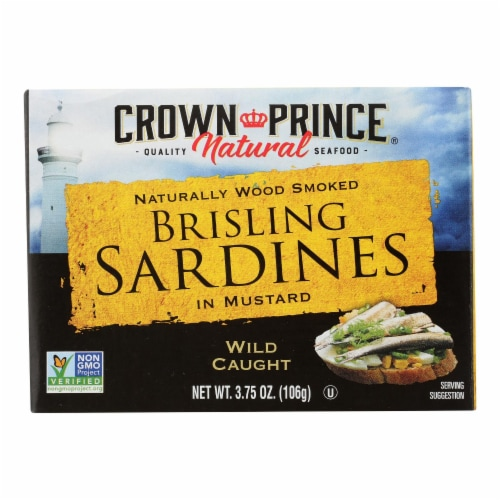 Crown Prince Brisling Sardines In Mustard - Case of 12 - 3.75 oz. Perspective: front