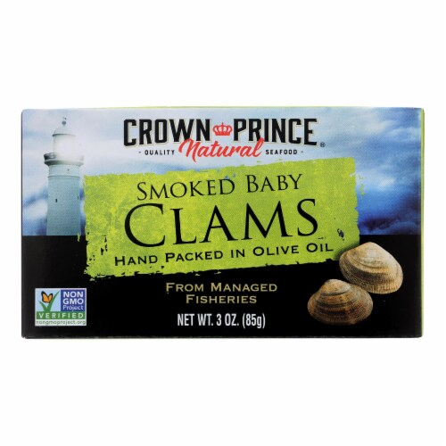 Crown Prince Clams - Smoked Baby Clams In Olive Oil - Case of 12 - 3 oz. Perspective: front