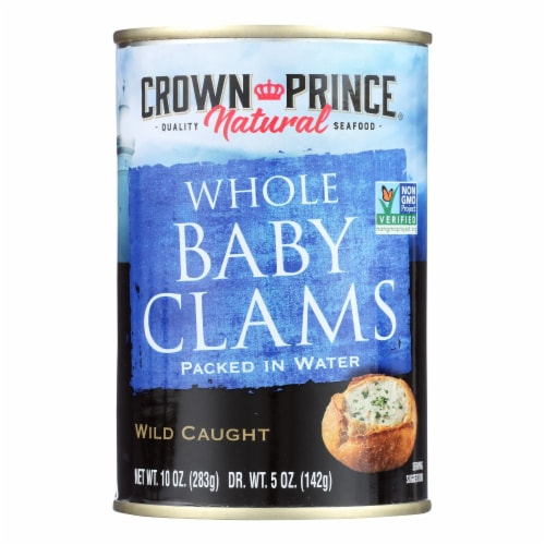 Crown Prince Clams - Boiled Baby Clams In Water - Case of 12 - 10 oz. Perspective: front